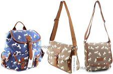 LADIES HORSE PRINT CANVAS BAG BACKPACK TOTE MESSENGER SCHOOL SPORTS TRAVEL M/L