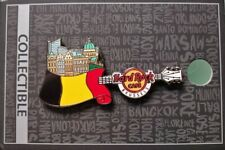 HARD ROCK CAFE BRUSSELS FLAG OVER CITY GUITAR PIN WITH CARD