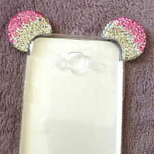 For Samsung Galaxy J7 2015 -Pink Diamond Minnie Mouse Ears TPU Rubber Case Cover