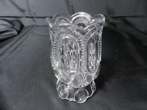 "Adams Glass Moon & Stars Open Spoon Holder Bulbous Clear EAPG 5 3/8"" T ca 1874"