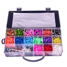 Wholesale 1500 DIY SET Mixed Colour Rainbow Rubber Loom Band Bracelet Making Kit