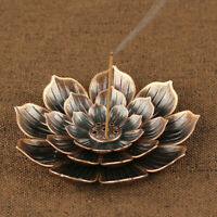 Alloy Incense Burner Stick Holder Plate Buddhism Coil Lotus Censer Bronze Copper
