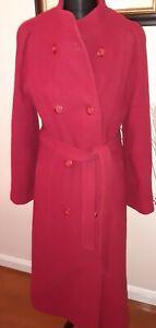 Vintage JULIUS Coat Size 10-12 Red 100% Wool  Long 70's