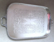 LARGE SILVER PLATED GALLERY TRAY-H WILKINSON-SHEFFIELD-c1880s-FOOTED    #