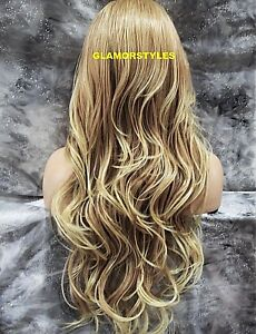 Human Hair Blend Hand Tied Monofilament Lace Front Full Wig Long Blonde Mix NWT