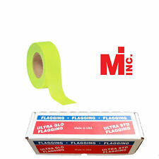 "Fluorescent Lime Taffeta Survey Flagging 1 3/16"" by 150 Feet - 12 Rolls"
