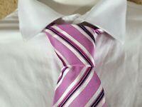 VALEUR 15 € WESTBURY NEUF Superbe cravate rose blanche  soie Tie C&A