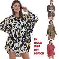 Baggy Ladies Tops Womens Batwing sleeve Baggy Loose Leopard Print Casual Blouse