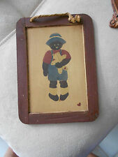 "Sarah'S Attic Framed Boy With Teddy-Back Chalk Board-Very Good-5 1/2"" X 7 1/2"""