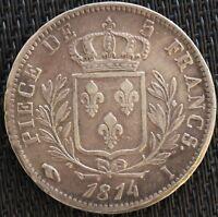 FRANCE 5 FRANCS LOUIS XVIII 1814 I ARGENT