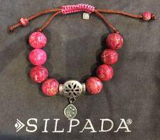 """NEW ~ Silpada~""""Best Trend"""" Sterling Silver, Jasper & Cord Bracelet~B2876"""