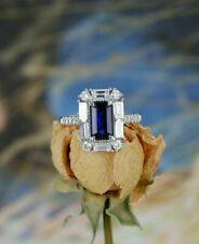 2Ct Emerald Cut Blue Sapphire Diamond Halo Engagement Ring 14K White Gold Finish