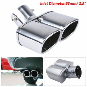 """ID 63mm / 2.5"""" Silver Chrome Car Dual Exhaust Tip Square Tail Pipe Muffler"""