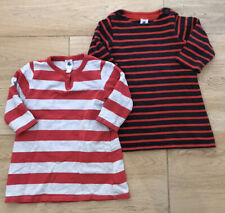 PETIT BATEAU 2x STRIPE A LINE JERSEY DRESSES 12-18 MONTHS GOOD CONDITION