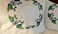 Pillow Shams Vintage Lace Cutwork - Hand Blocked Wreath Scalloped - A Pair