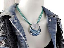 Modeschmuck Hals Kette Türkis Spirale Kreise Blau Damen Collier Silber Leder Neu