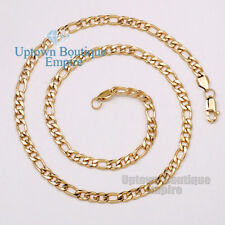 """18"""" Gold Figaro Stainless Steel 6 mm Chain Necklace for Men's #C24"""