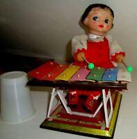 Vintage Vecchia Bambola in Latta Gomma anni 50/60 a corda Funzionante cm 21 c/a