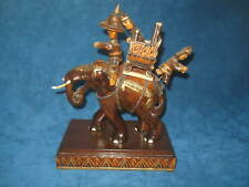 Vtg Hand Carved Wooden Asian Warriors on Elephant Figurine.Beautiful & Unique!