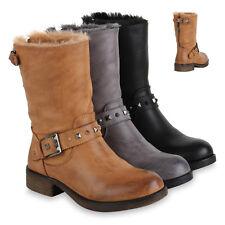 Damen Stiefeletten Biker Boots Warm Gefütterte Stiefel Schnallen 819827 Schuhe