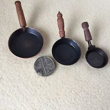 1:12 Scale Set of 3 Authentic Metal FRYING PANS Dolls House Miniature Storage