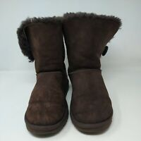 UGG Brown Suede Bailey Button 5803 Mid Calf Boots Women's Size 10