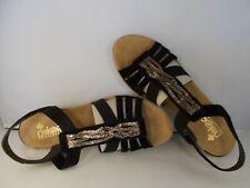 d3d0a61c6ec2 Ladies Rieker Wedge Summer Sandals 62479 Black 9.5 Standard