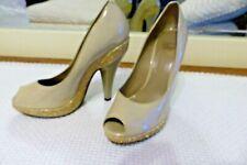 EUC Burberry nude pumps gold studded heels size 37 beige 6.5-7