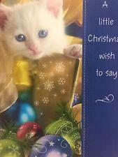Unused Christmas Card American Greetings With Envelope Glitter Kitten Ornaments