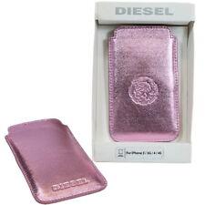 Diesel Metallic pink Schutzhülle Handytasche Cover für Smartphone aus Lamm Leder