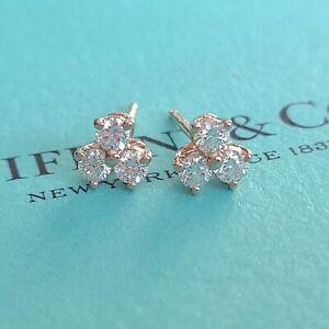 AUTHENTIC Tiffany & Co. 18k Rose Gold Aria .58 Carat Diamonds Cute Earrings