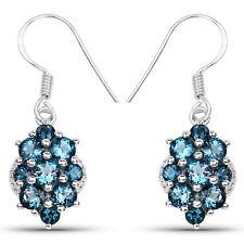 Drop Earrings w/ 4.32 ct Genuine London Blue Topaz 925 Sterling Silver Fish hook