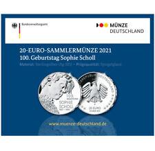 GANZ NEU !!! ------ 20 Euro Deutschland BRD 2021 PP-Spiegelglanz / Sophie Scholl