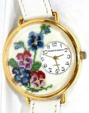 Micro Needlepoint Watch w Leather Band Elizabeth R. Anderson London Pansy Floral