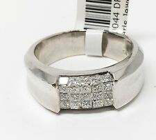 18K White Gold Five Row Invisible Setting Men's Ring, 25 Stones, Dia 2.25 CT