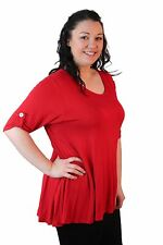 Ladies Womens New Plus Size Plain Short Sleeve Scoop Neckline Flared Tunic Top