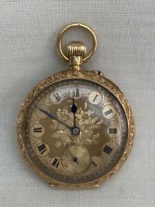 Fine Swiss Solid 18k Gold Ladies Top Wind Antique Pocket Watch.