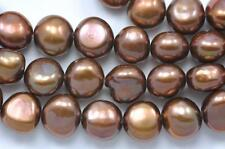 9-10mm Chestnut Copper Brown Baroque Nugget Freshwater Pearls a