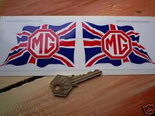 "MG Wavy UNION JACK Handed Classic Car Stickers 4"" Pair MGB MGC TF MGA TC Midget"