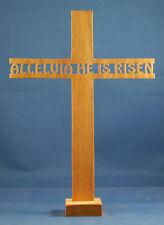 Alleluia He Is Risen Cross - Hand Cut Oak w/ Stand