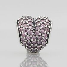 European Pandora AUTHENTIC Silver Charm pave heart, pink cz JEWELRY