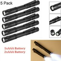 5PCS XPE-R3 LED Flashlight Clip Mini FlashLight Penlight Portable Pen Torch Lamp