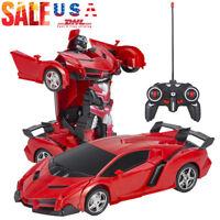 Kids Toys Transformer RC Robot Toy Birthday Gift Boy Remote Control Model Car gd