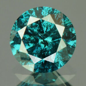 0.42 cts CERTIFIED Round Cut I2 Vivid Sea Blue Color Loose Natural Diamond 19472
