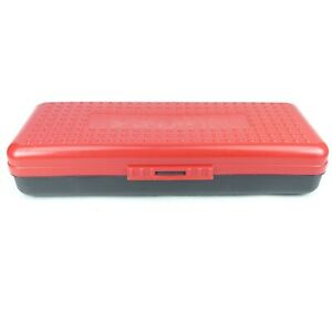 Vintage 1990s Spacemaker Pencil Box Case 13in x 5in Two Tone Red & Black