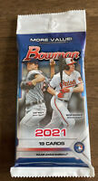 2021 Bowman MLB Baseball Factory Sealed 19 Card Cello Fat Pack.  FREE SHIPPING!