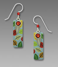Multi Colored LEAF Column EARRINGS by Adajio STERLING Dangle Leaves USA - Boxed