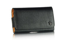 LEATHER BELT CLIP HOLSTER HORIZONTAL POUCH FOR iPHONE 4 4S WITH CASE ON