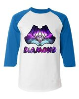 Diamond Galaxy Cartoon Hands Baseball Raglan T-Shirt Illuminati Cool Graphic Tee