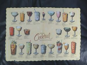 Vtg Cocktail Suggestions PLACEMAT Pictures and Recipes Springfield Ohio #206